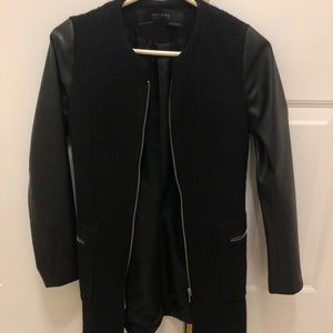 Zara black jacket with faux leather sleeves